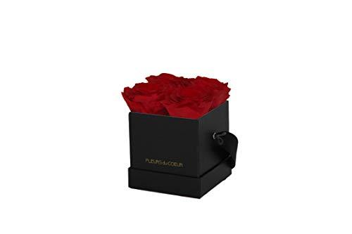 FLEURS du COEUR • Rosenbox Square 4 (Schwarz) - 4 Infinity Rosen (Rot) | Flowerbox mit konservierten Rosen verschenken • Blumen von Herzen