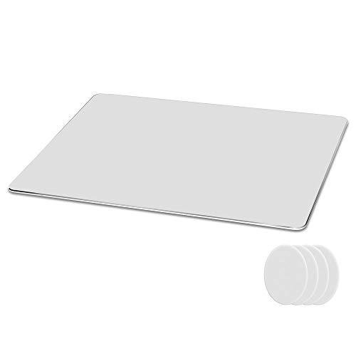 Metaku Mauspad Aluminium Gaming Mousepad rutschfest Büro Mouse Pad Klein Größ Wasserdicht Mausunterlage mit Speziellen Oberfläche Verbessert Geschwindigkeit und Präzision (Silber, 21,5x18x0,2cm)