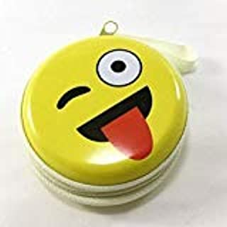 SYSTEM BREAKER™ Kissing Smiley Metal Tin Pouch for Earphone, Coins, Memory Card, Pendrive and Jewellery(Yellow, 8.5x8.5x4.5cm ( 1 pc)
