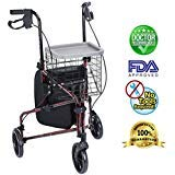 Upgraded Version ! Health Line Massage Products Lite Folding 3 Wheel Aluminum Rollator Walker Lightweight with Bag and Basket, Flame Red