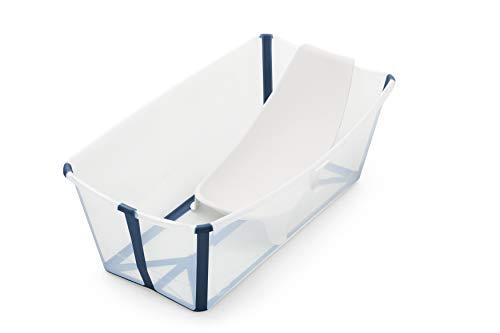 STOKKE® Flexi Bath® Bundle – Kombination aus faltbarer Badewanne für Babys, Kleinkinder & Kinder & einem Newborn Support – Farbe: Transparent Blue