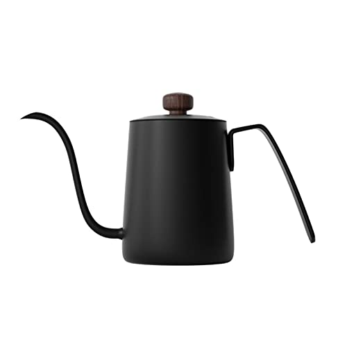 YONGLI Long Narrow Spout Coffee Pot 20oz- 304 Stainless Steel Gooseneck Pour over Coffee Kettle with Classical Wooden Handle, Black (Color : Light Green)