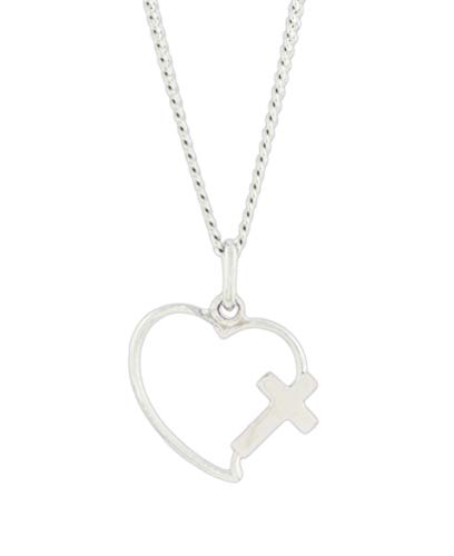 H. J. Sherman Sterling Silver Cross Heart Necklace on 18' Chain