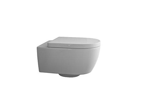 Design Hänge WC Spülrandlos Toilette inkl. WC Sitz mit Softclose Absenkautomatik + abnehmbar kurz - 3