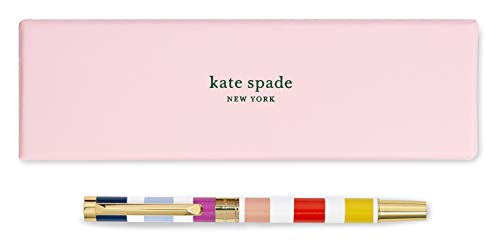 Kate Spade New York Black Ink Ballpoint Pen with Reusable Gift Box, Professional Office Pen for Women Accepts Standard Refills, Candy Stripe