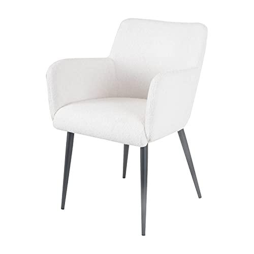 Damiware Rose Stuhl | Design Wohnzimmerstuhl Esszimmerstuhle Bürostuhl mit Stoffbezug | (Schaffellimitat weiß)