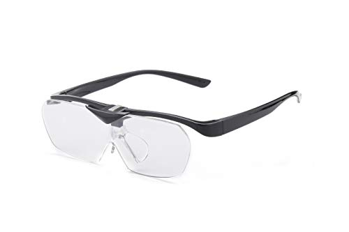 拡大鏡 めがね 跳ね上げ式が便利 携帯型 細かな作業 解放両手 ルーペ メガネの上からも掛けられる (ブラック, 1.6倍)