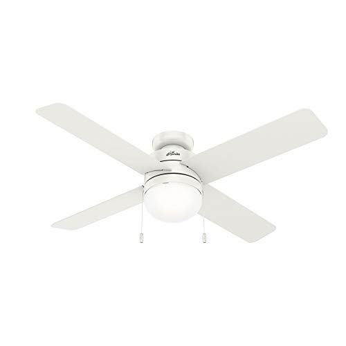 Hunter Fan Company 50362 Timpani Indoor Low Profile Ceiling Fan with LED Light and Pull Chain Control, 52, Fresh White