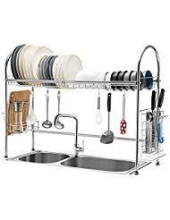 iPEGTOP - Scolapiatti per lavello, in acciaio inox 304, grande capacità, scolapiatti con porta utensili e tagliere per piano di lavoro della cucina