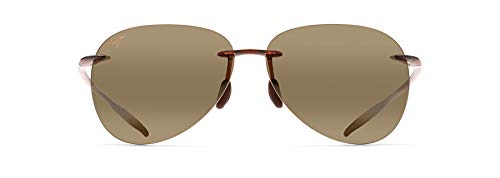Maui Jim Sugar Beach with Patented PolarizedPlus2 Lenses Polarized Aviator Sunglasses, Rootbeer/HCL Bronze Polarized, Large