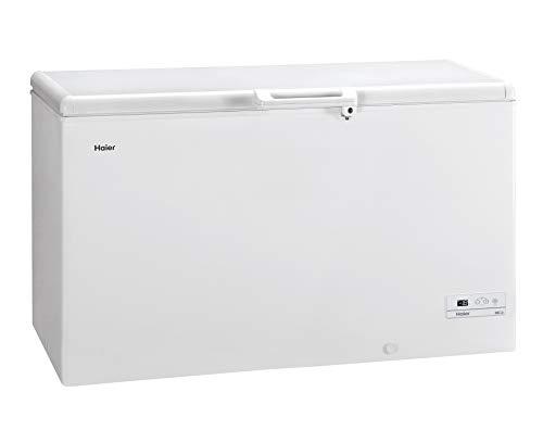 Haier HCE429F - Arcon congelador, 413 litros, Función super congelación, 2 cestos metálicos, Display digital, Interior aluminio, Cierre con llave, LED, Clase F