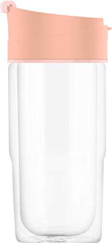 SIGG Nova Shy Pink Vaso térmico (0.37 L), termo para café aislante y sin sustancias nocivas, taza hermética de vidrio resistente al calor