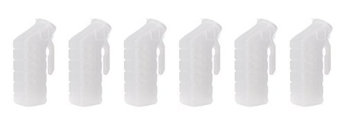 BodyHealt Deluxe Male Urinal Incontinence Pee Bottle 32oz/1000ml with Cover Standard Lid Pack of 6