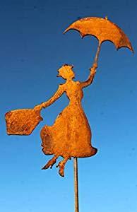 Bornhöft Gartenstecker Mary Poppins Metall Rost Gartendeko Edelrost rostiger Beetstecker (118cm)