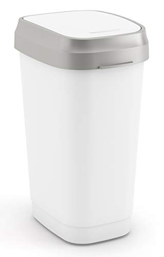 Kis Dual Swing Abfallbehälter 25L, mit Doppelöffnungssystem, weiß/grau