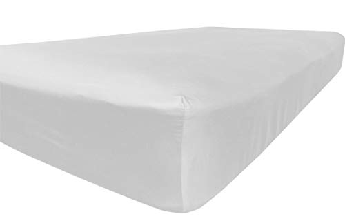 American Pillowcase Deep Pocket Fitted Sheet, 100% Percale Egyptian Cotton, 400 Thread Count, Queen, White