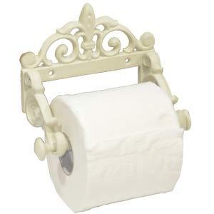 ecoSoul Dérouleur de Papier Toilette en Fonte Vintage laqué 8 cm de Haut 15 cm de Large Crème Blanc