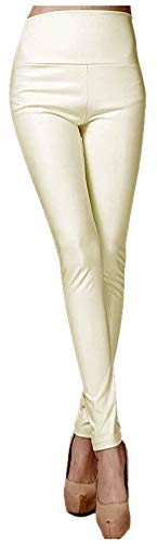 ARJOSA Women's Faux Leather Leggings High Waist Tights Skinny Pants (White, Medium)