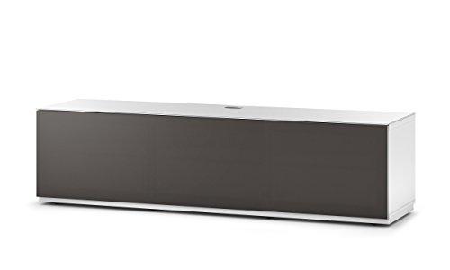Sonorous STA 160T-WHT-OLV-BS stehende TV-Lowboard mit versteckten Rollen, weißer Korpus, obere Fläche, gehärtetem Weißglas und Klapptür mit olivfarbenem Akustikstoff