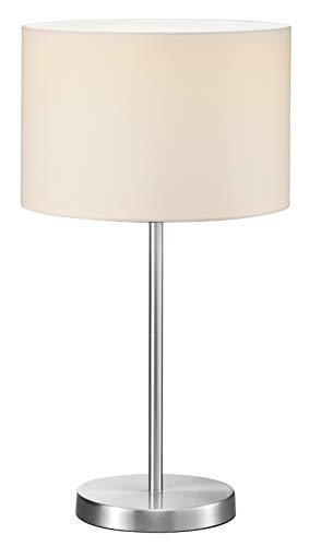 Trio Leuchten Hockerleuchte in Nickel matt, Stoffschirm weiß, exklusive 1x E27 maximal 60W, ø 30 cm, Höhe: 54 cm 511100101