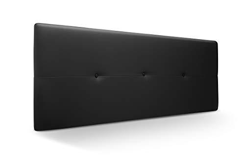Cabecero de Madera Jazmin, tapizado Acolchado en Polipiel Color Negro. Cabeceros Madera para Dormitorio   Cama Matrimonio   Cama Juvenil   Camas de 140 cm, 135 cm, 120 cm