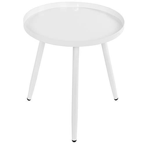 Yunnyp - Soporte para mesa de café, triangular, moderno, redondo, mesa auxiliar de 3 patas, mesa auxiliar de té (blanco) barco de Alemania
