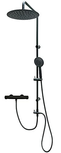 Ducha de lluvia con termostato, color negro mate y soporte de pared ajustable