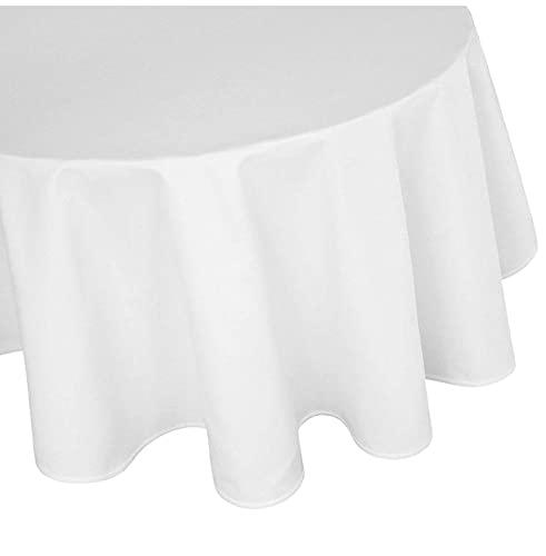 TextilDepot24 Damat Tischdecke rund 100% Baumwolle weiß Tafeltuch (120 cm rund)