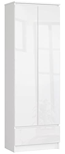 Shumee Büroregale R 60 cm CLP 1 Schublade 2 Türen Weiß / Hochglanz