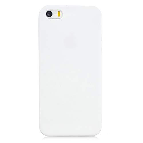 cuzz Funda para iPhone 6/6S+{Protector de Pantalla de Vidrio Templado} Carcasa Silicona Suave Gel Rasguño y Resistente Teléfono Móvil Cover-Blanco