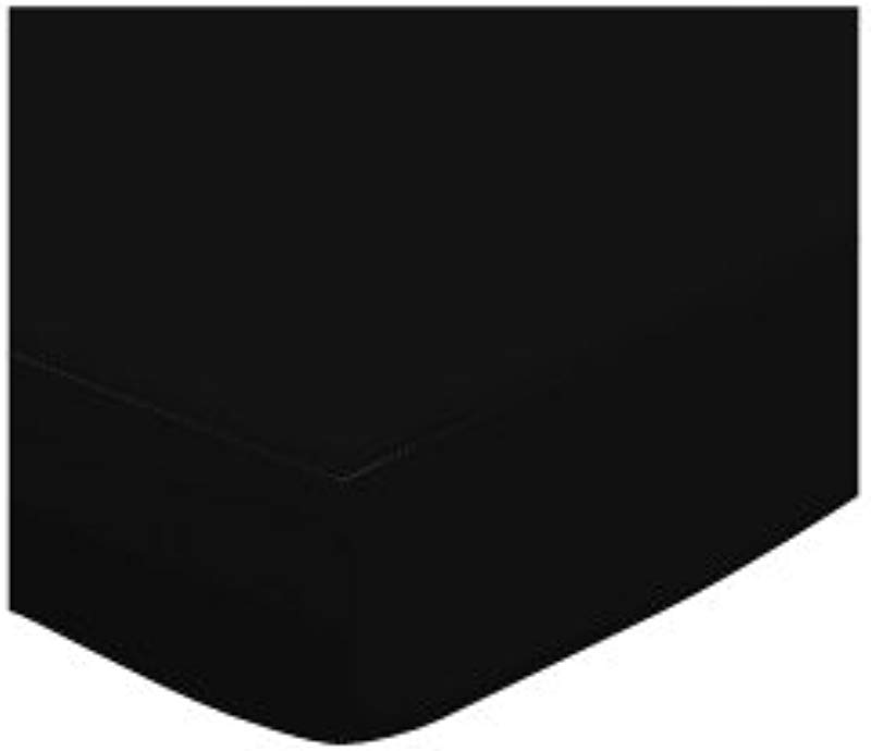SheetWorld Fitted Bassinet Sheet Solid Black Jersey Knit Solid Colors