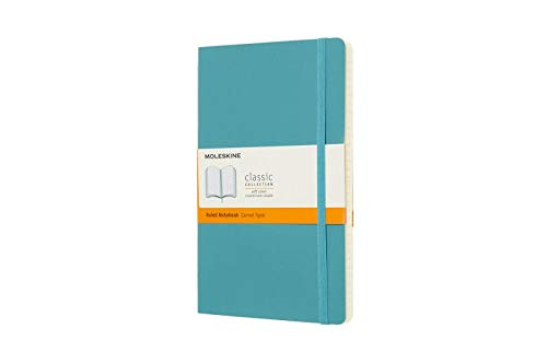 """Moleskine Classic Notebook, Soft Cover, Large (5"""" x 825"""") Ruled/Lined, Reef Blue, 192 pages"""