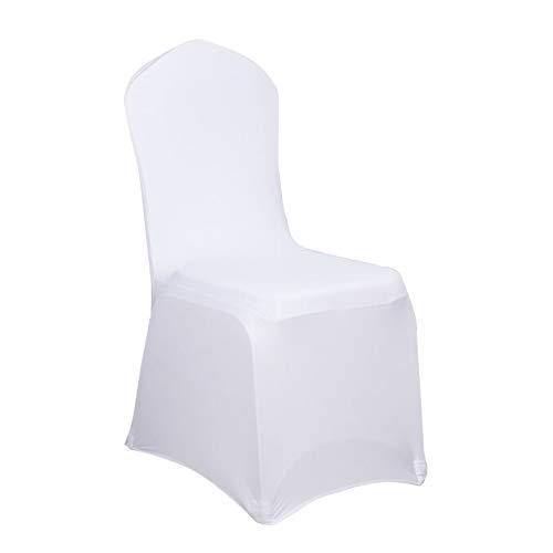 UISEBRT 100 Stück Universell Stuhlhussen Stretch Weiß Stuhlbezüge Moderne für Hochzeiten und Feiern Geburtstag Dekoration (100 Stück)