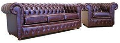 Designer Sofas4u Chesterfield de Piel sintética sofá 3+ Club