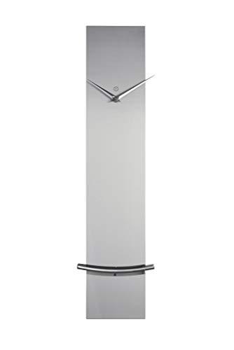 sompex Clocks Wanduhr Monaco, Moderne Pendeluhr mit geräuschlosem Quartzuhrwerk | Metall | 60 x 12 x 5cm, Farbe:Silber