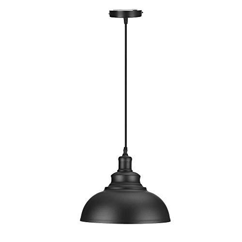 Vintage hanglamp DCVoltage industriële retro metalen koepel/kom gevormde zwarte kleur opknoping licht in geschilderde afwerking lampenkap