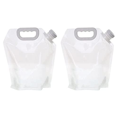 ABOOFAN Contenedor de agua plegable, sin fugas, botella de agua plegable, 1, 3 galones, paquete de 2, para acampar al aire libre