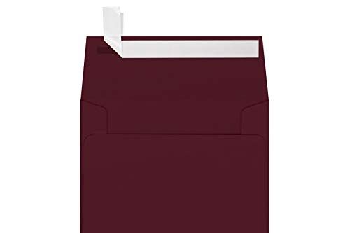 "LUXPaper A1 Invitation Envelopes for 3 1/2"" x 4 7/8"" Cards in 80lb. Burgundy Linen, Printable Envelopes for Invitations, w Peel and Press Seal, 50 Pack, Envelope Size 3 5/8"" x 5 1/8"" (Burgundy)"