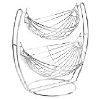 MyGift Chrome Double Hammock 2 Tier Fruit/Vegetables/Produce Metal Basket Rack Display Stand