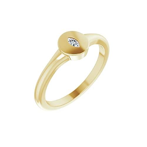 Anillo de oro amarillo pulido de 14 quilates con sello de diamante de 05 quilates, tamaño N 1/2, joyería de regalo para mujer