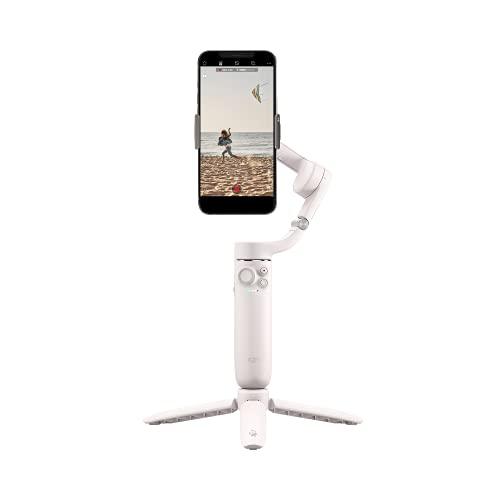 Stabilisateur nacelle pour smartphone DJIOM5, nacelle pour téléphone à 3 axes, barre d'extension intégrée, portable et pliable, nacelle pour Android et iPhone avec ShotGuides, Blanc