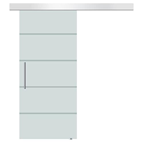 HOMCOM Porta Scorrevole Interna in Vetro Smerigliato e Satinato con Binario B2 e Maniglia per Bagno Cucina Studio Vetro 205x 102.5x 0,8cm