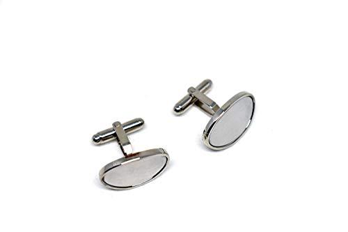 ZONANA Mancuernillas Oval Blanca Metálicas Color Plata. Juego de Gemelos Metálicos para Camisa de Vestir