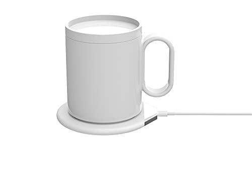 Control de temperatura taza inteligente 2 en 1 taza calentador cargador inalámbrico, calentador de café base de aislamiento automático con cubierta taza para escritorio