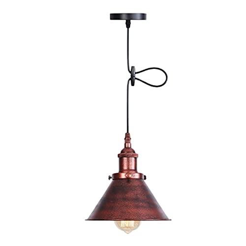 Coding Lámpara de techo vintage industrial con pantalla de metal, lámpara de techo ajustable, lámpara de suspensión industrial, pantalla para salón, comedor, cocina (D)