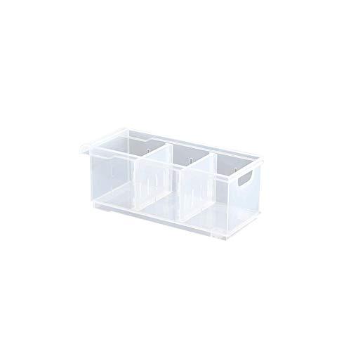 Caja de almacenamiento en el refrigerador, organizador de alimentos para congelador de plástico, cajón del gabinete de la despensa con rejilla separada para el baño de la cocina (12.2x12.8x30.5cm)
