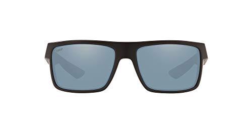 Costa Del Mar Men s Motu Polarized Rectangular Sunglasses, Race Black Grey Silver Mirrored Polarized-580P, 58 mm