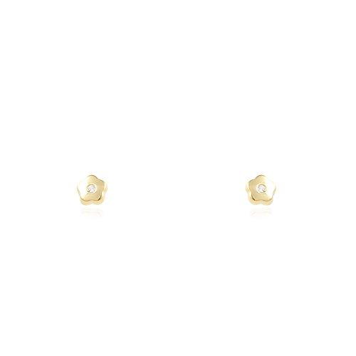 Orecchini per bambini fiore 3 mm - oro giallo 18K (750)
