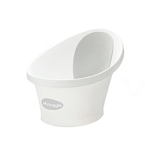 Shnuggle Baby Bath with Plug & Foam Backrest, White/Grey