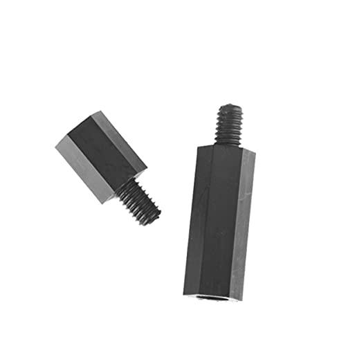 50 Uds M2 / M2.5 / M3 / M4 * L + 6mm rosca negro/blanco tornillo espaciador de plástico para placa base PCB pilar espaciador de nailon fijo